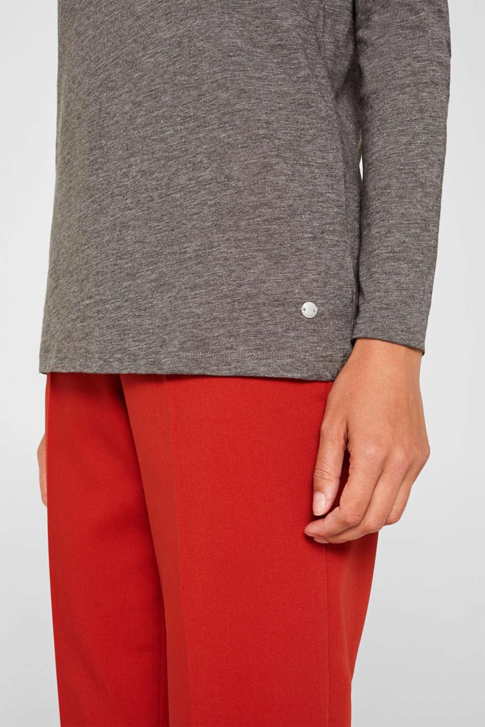 Long sleeve slub top with organic cotton, DARK GREY 4, detail image number 2