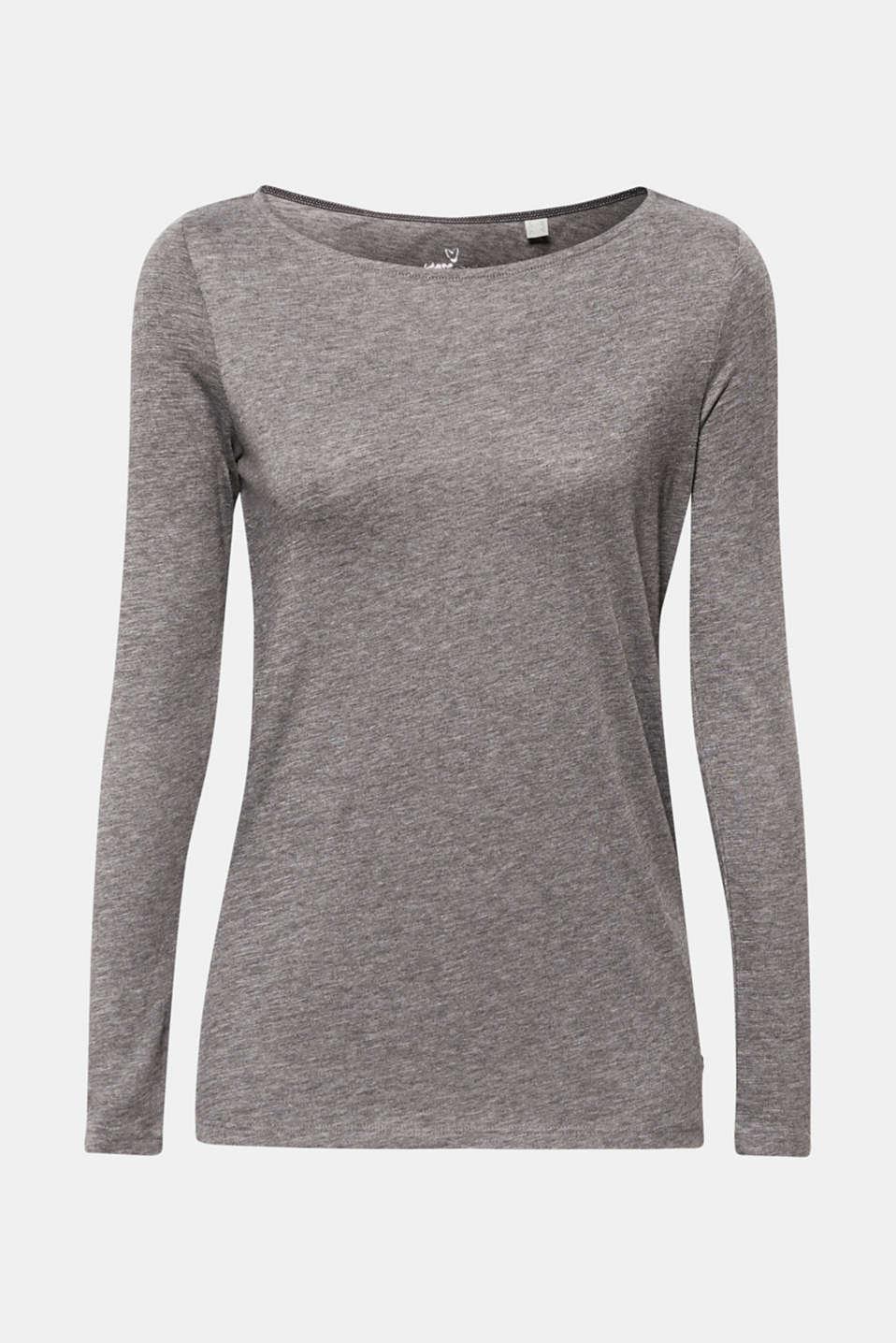 Long sleeve slub top with organic cotton, DARK GREY 4, detail image number 6