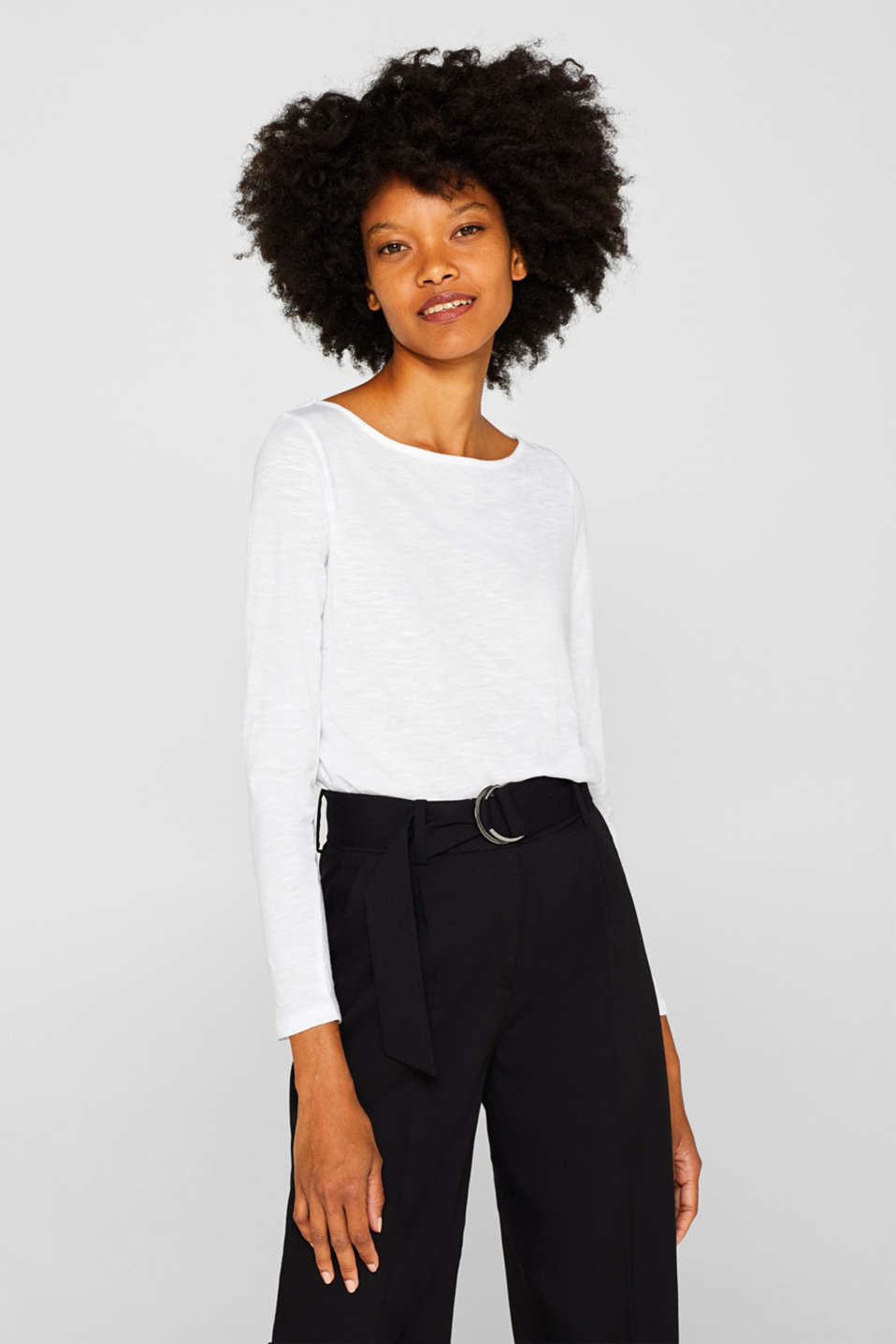 Long sleeve slub top with organic cotton, WHITE, detail image number 0
