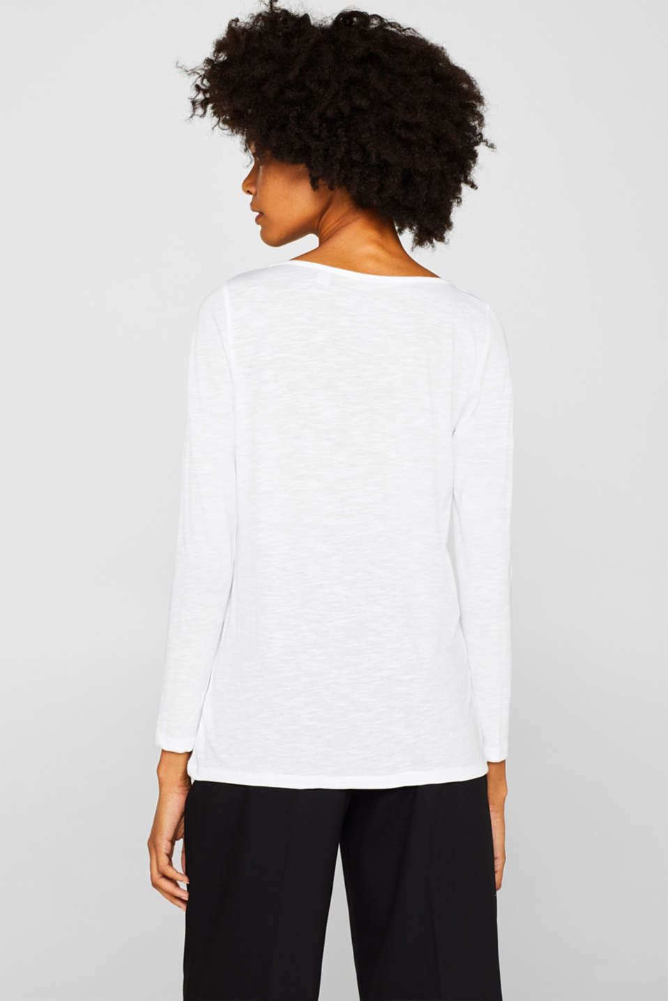 Long sleeve slub top with organic cotton, WHITE, detail image number 3