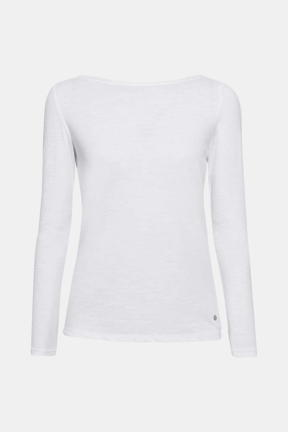 Long sleeve slub top with organic cotton, WHITE, detail image number 6