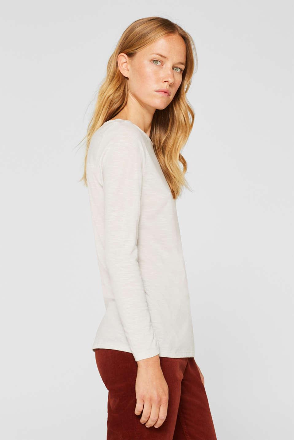 Long sleeve slub top with organic cotton, LIGHT BEIGE 5, detail image number 5