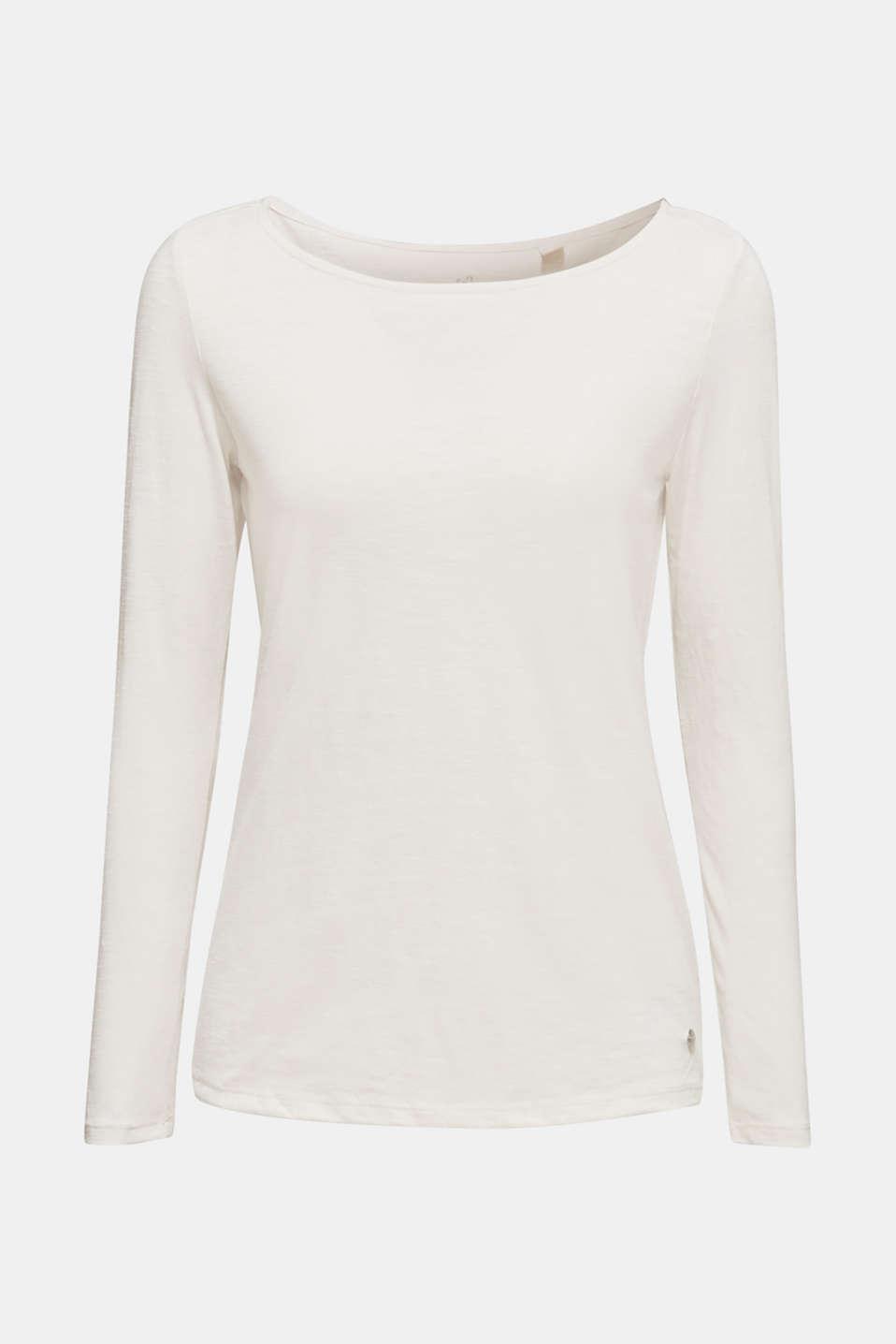 Long sleeve slub top with organic cotton, LIGHT BEIGE 5, detail image number 6