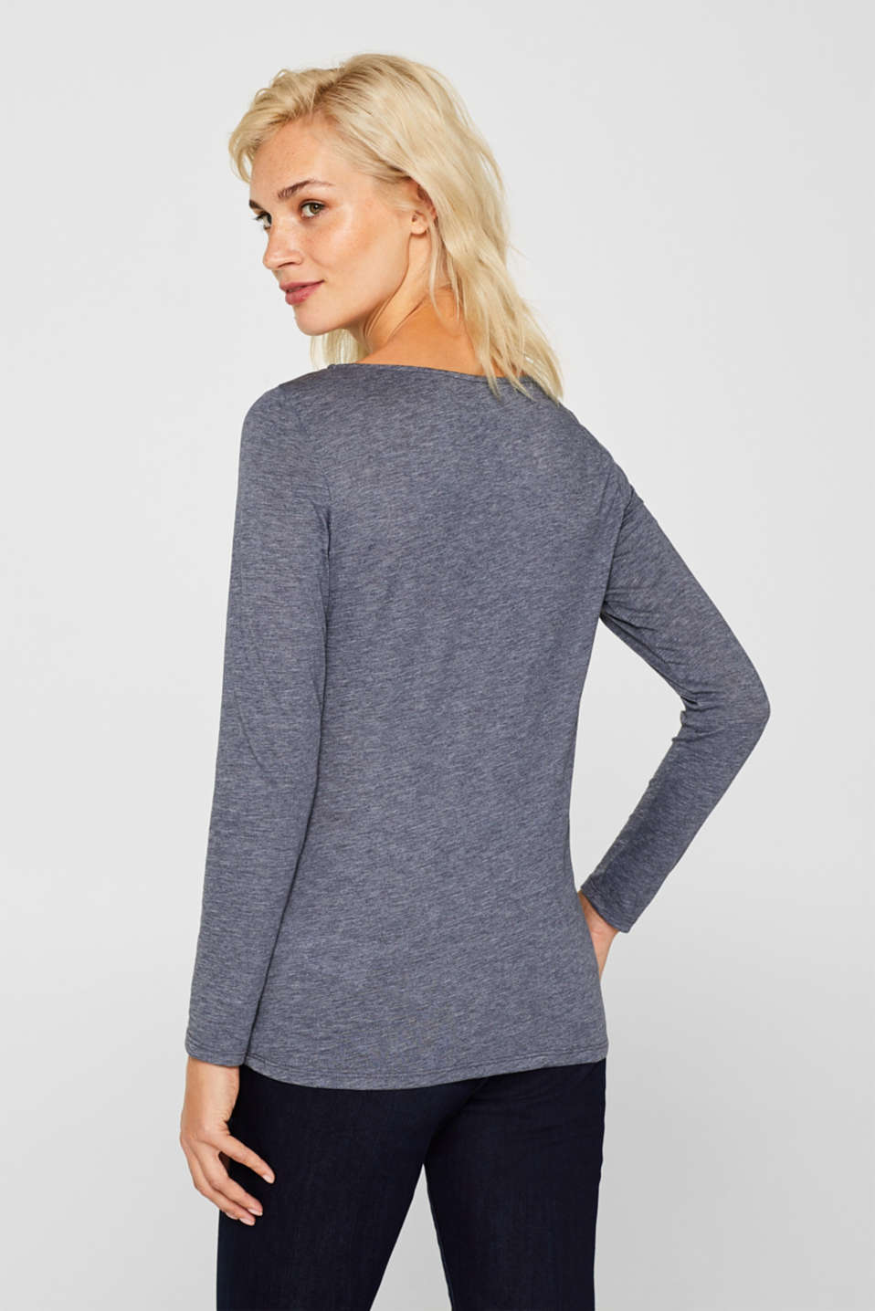 Long sleeve slub top with organic cotton, NAVY, detail image number 3