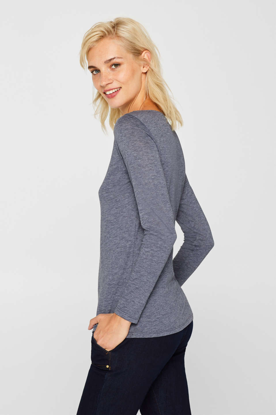 Long sleeve slub top with organic cotton, NAVY, detail image number 5