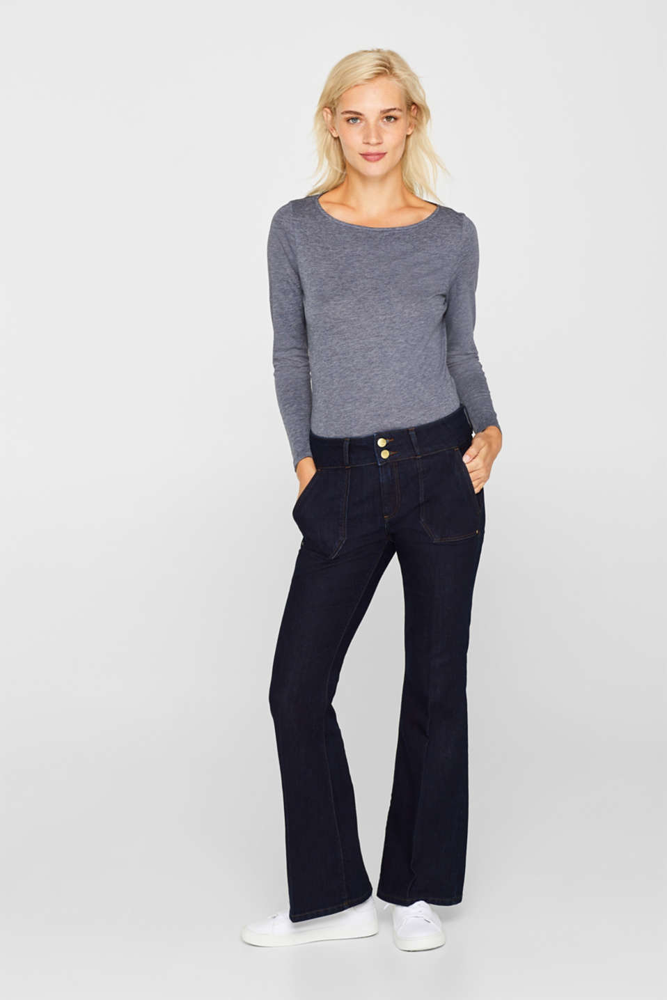 Long sleeve slub top with organic cotton, NAVY, detail image number 1