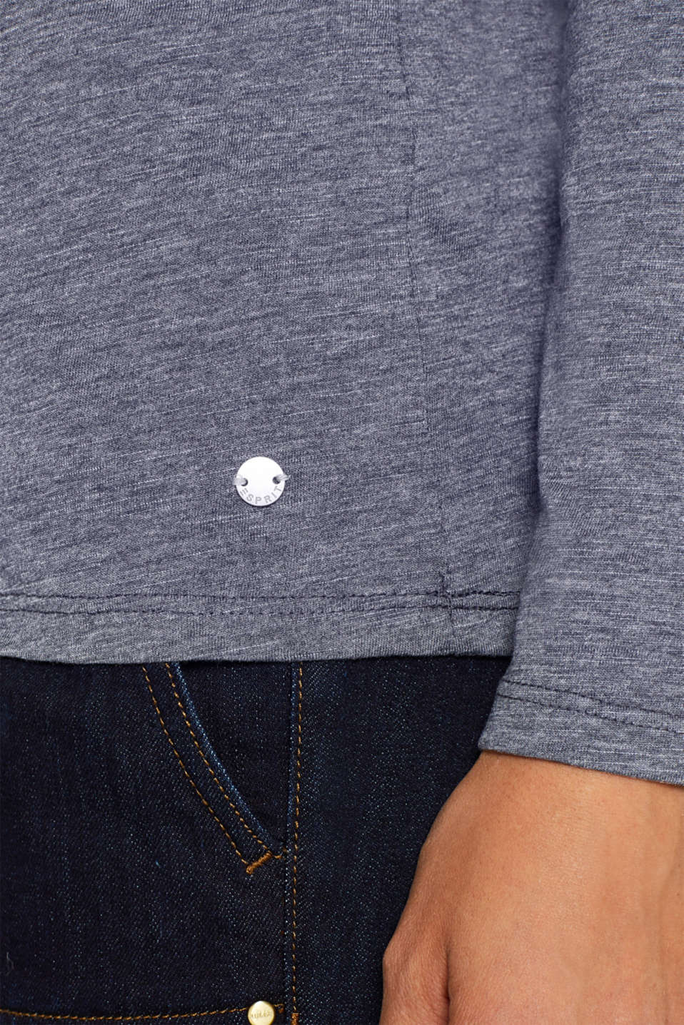 Long sleeve slub top with organic cotton, NAVY, detail image number 2