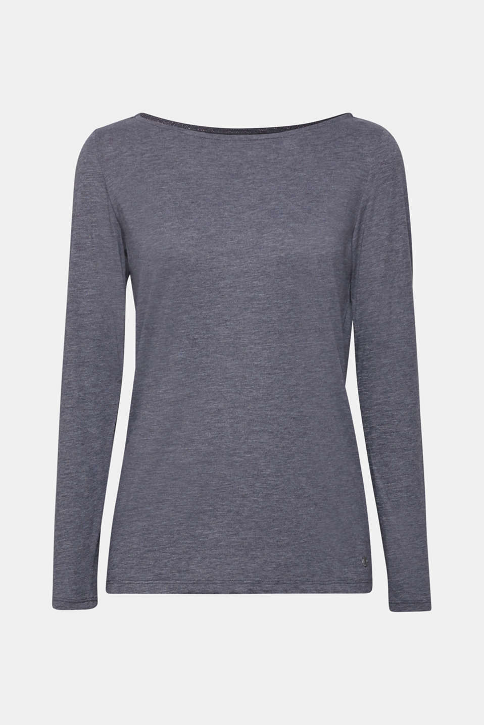 Long sleeve slub top with organic cotton, NAVY, detail image number 7