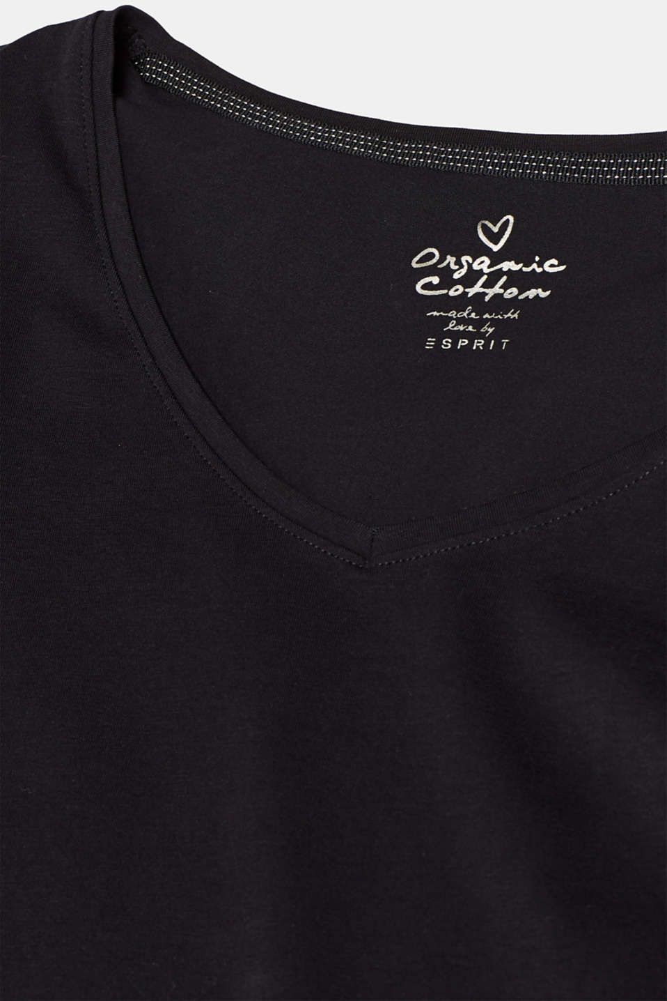 Stretch long sleeve top with organic cotton, BLACK, detail image number 4