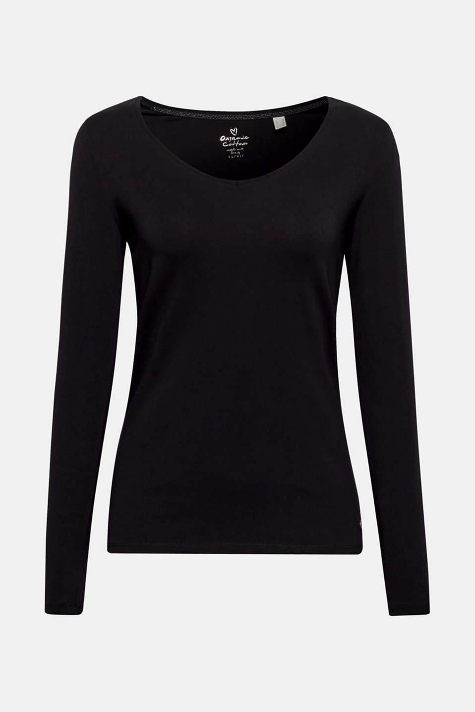 Stretch long sleeve top with organic cotton, BLACK, detail image number 5