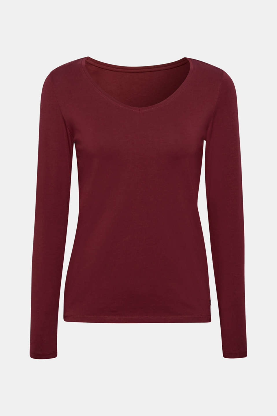 Stretch long sleeve top with organic cotton, GARNET RED 4, detail image number 5