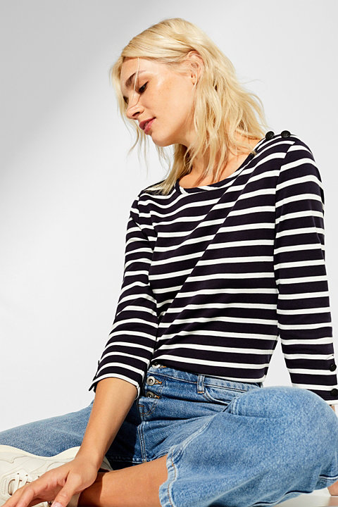 Full needle rib top with button details, 100% cotton