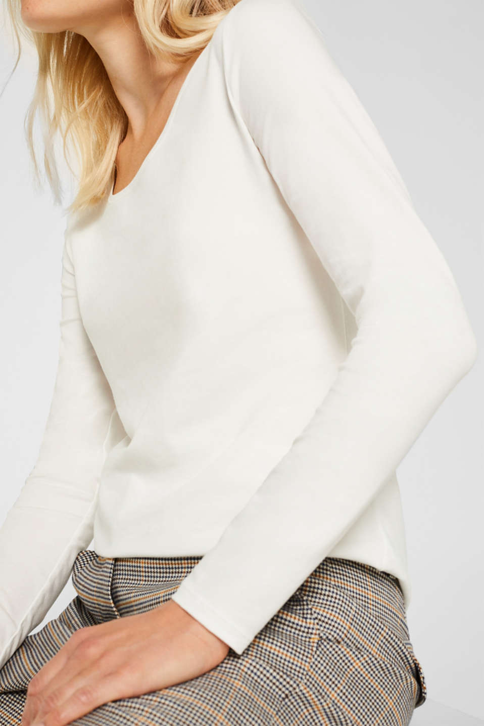 Stretch long sleeve top with organic cotton, OFF WHITE, detail image number 2