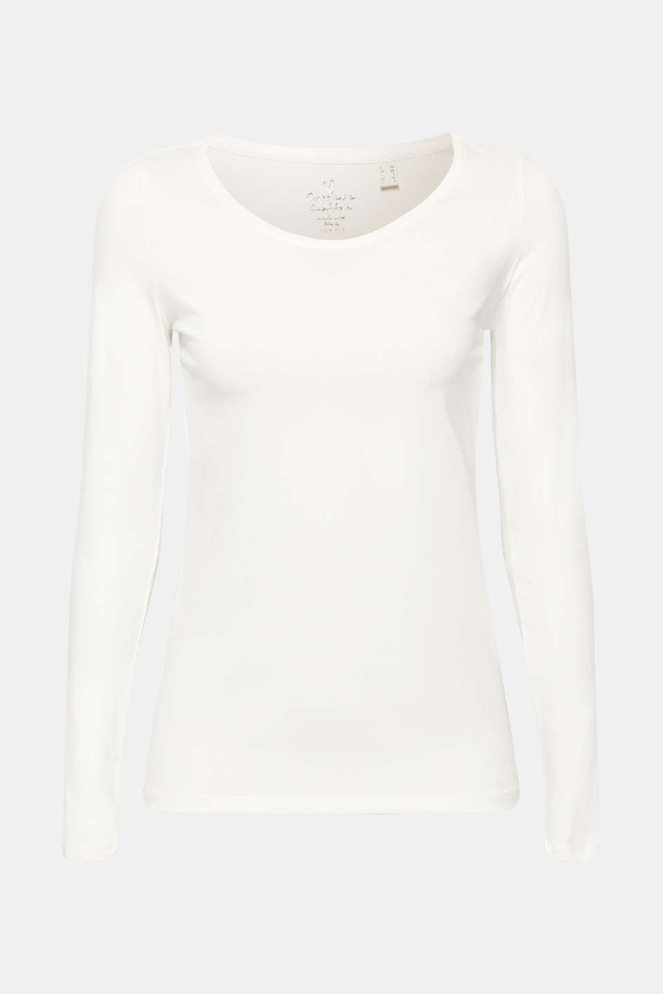 Stretch long sleeve top with organic cotton, OFF WHITE, detail image number 6