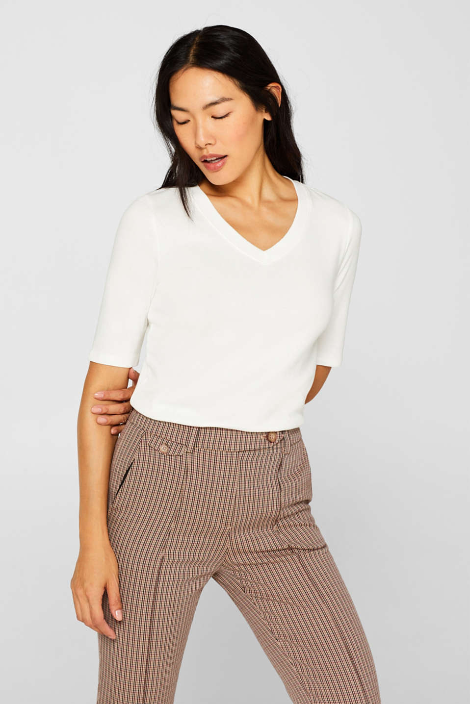 Esprit - Stretch, full needle ribbed top