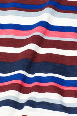 Striped T-shirt in 100% cotton, GARNET RED, detail