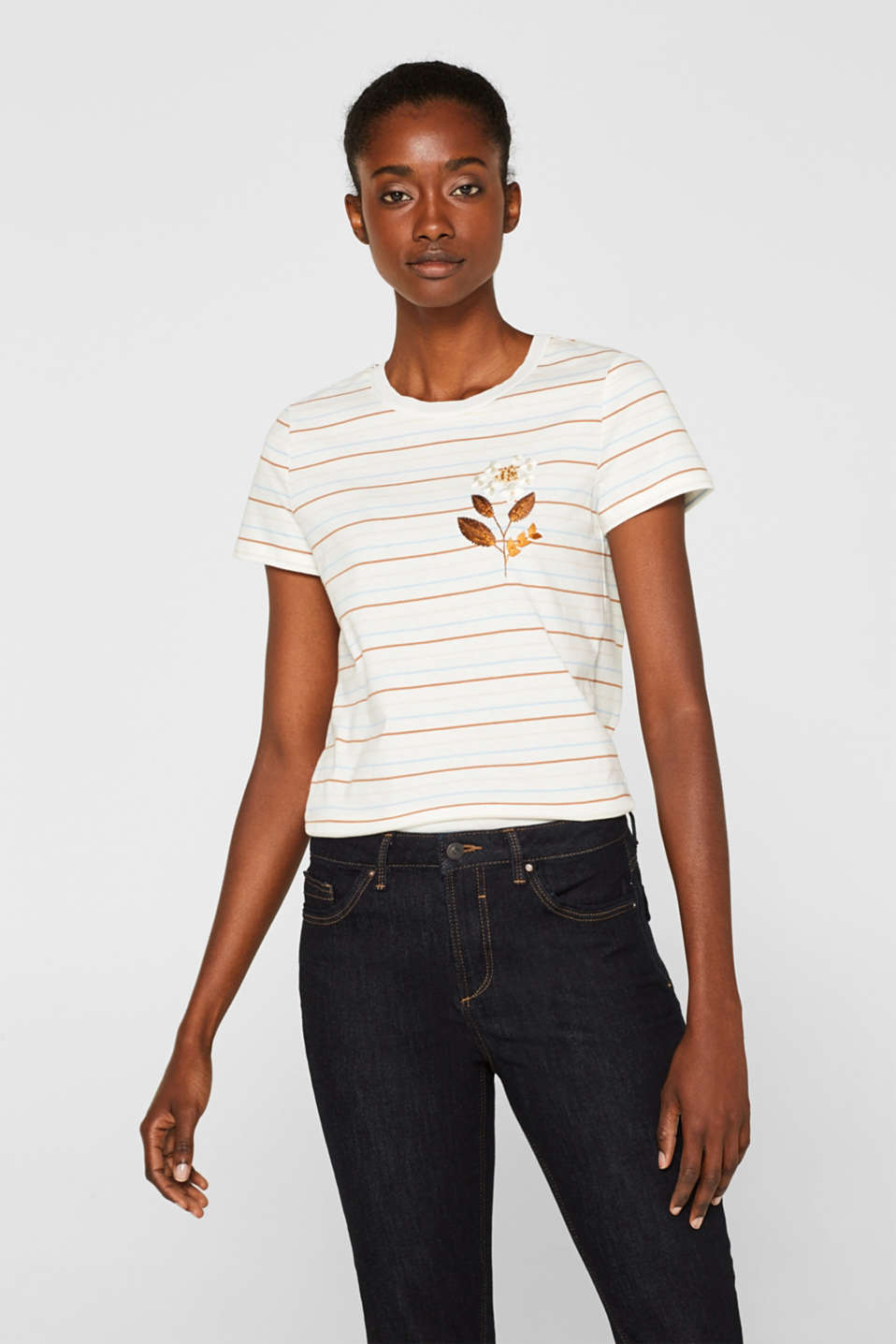 Esprit - Striped top with appliqué