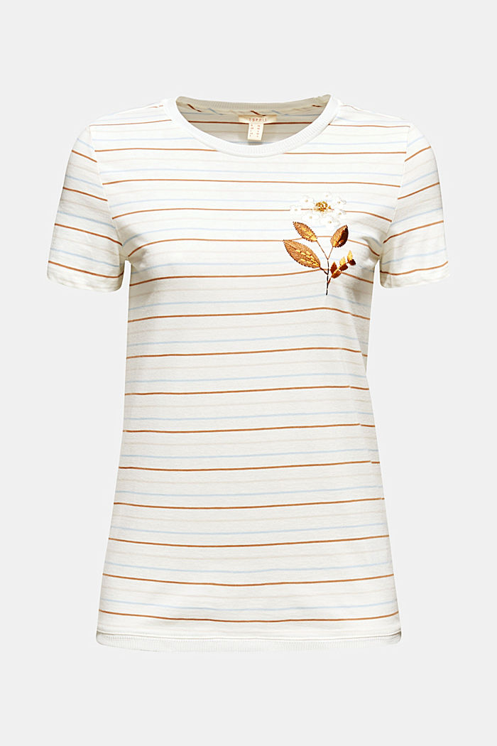 Striped top with appliqué, OFF WHITE, detail image number 4