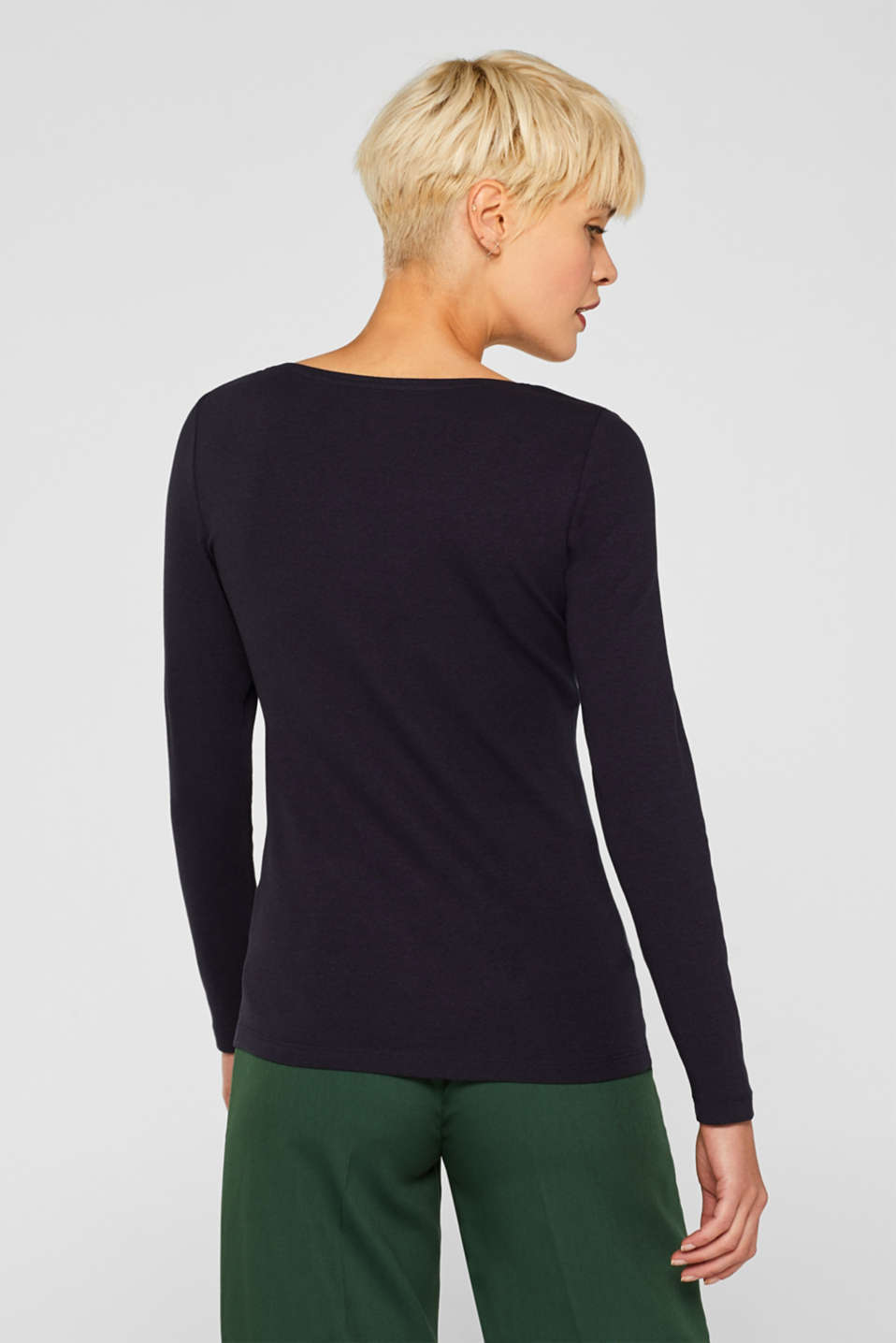 Long sleeve Henley top with stretch for comfort, NAVY, detail image number 3