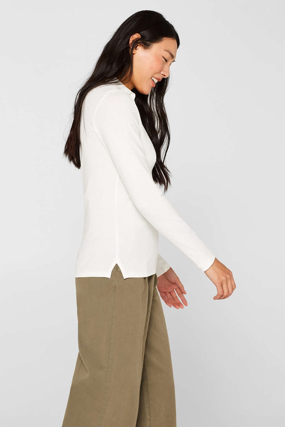 Long sleeve top with a fabric collar, OFF WHITE, detail image number 5