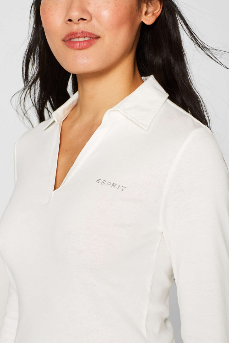 Long sleeve top with a fabric collar, OFF WHITE, detail image number 2