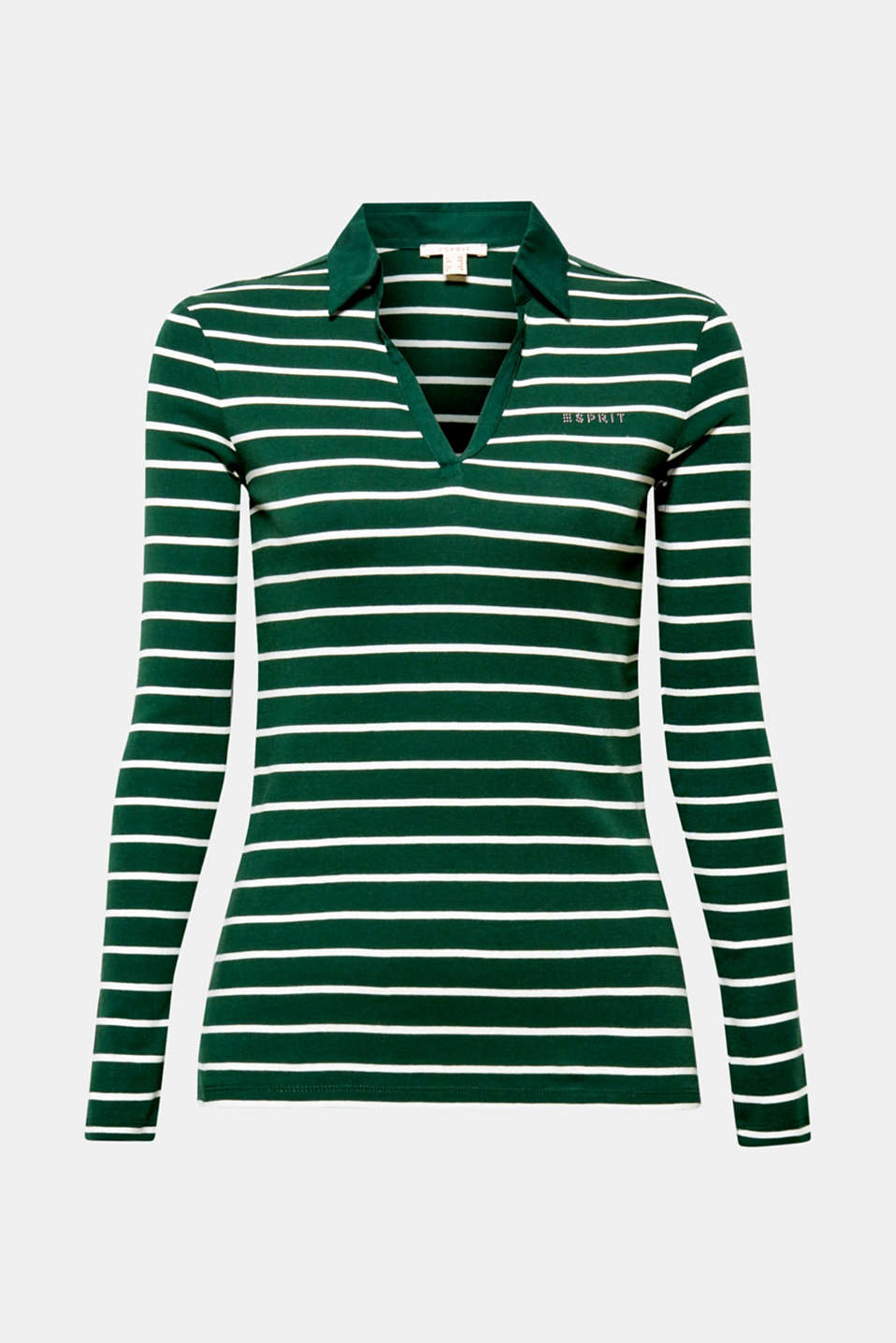 Long sleeve polo shirt with a fabric collar, 100% cotton, BOTTLE GREEN 4, detail image number 5