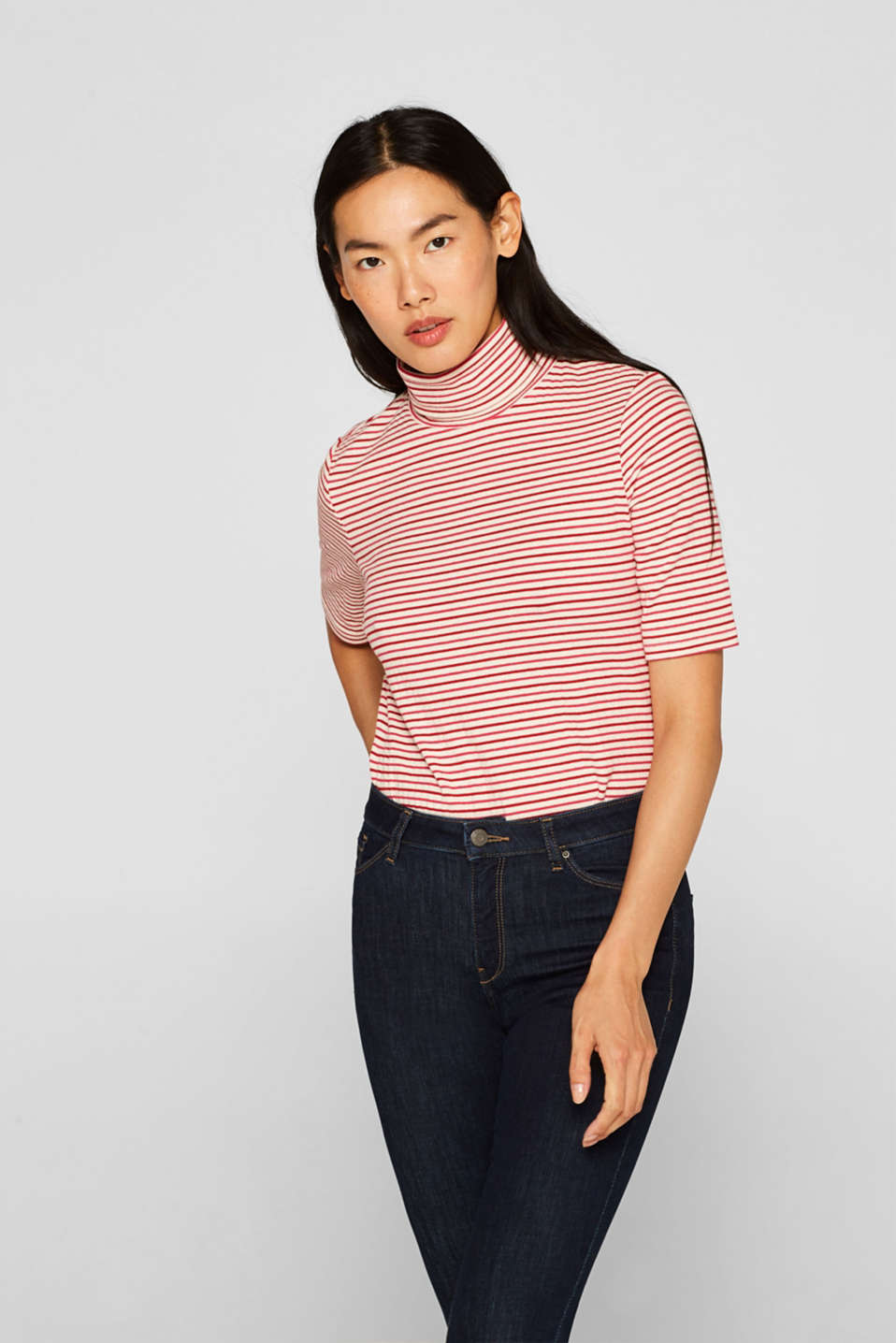 Esprit - Shirt met col en stretch