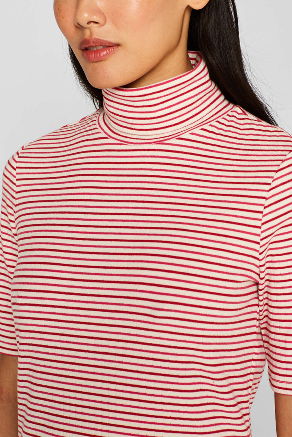 Stretch polo neck top, OFF WHITE, detail image number 2