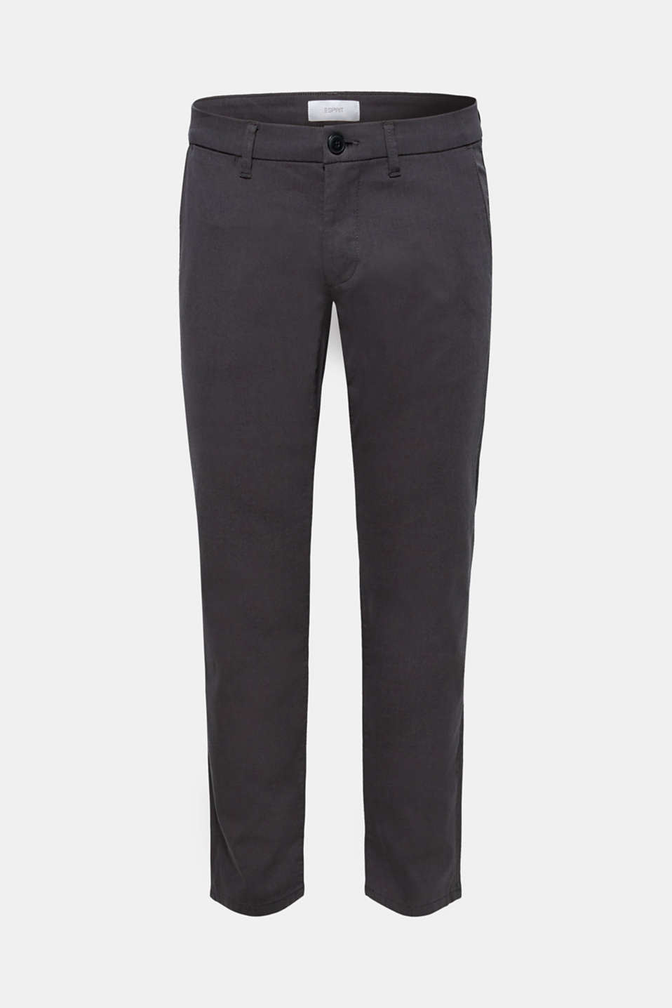Textured trousers made of stretch cotton, ANTHRACITE, detail image number 6