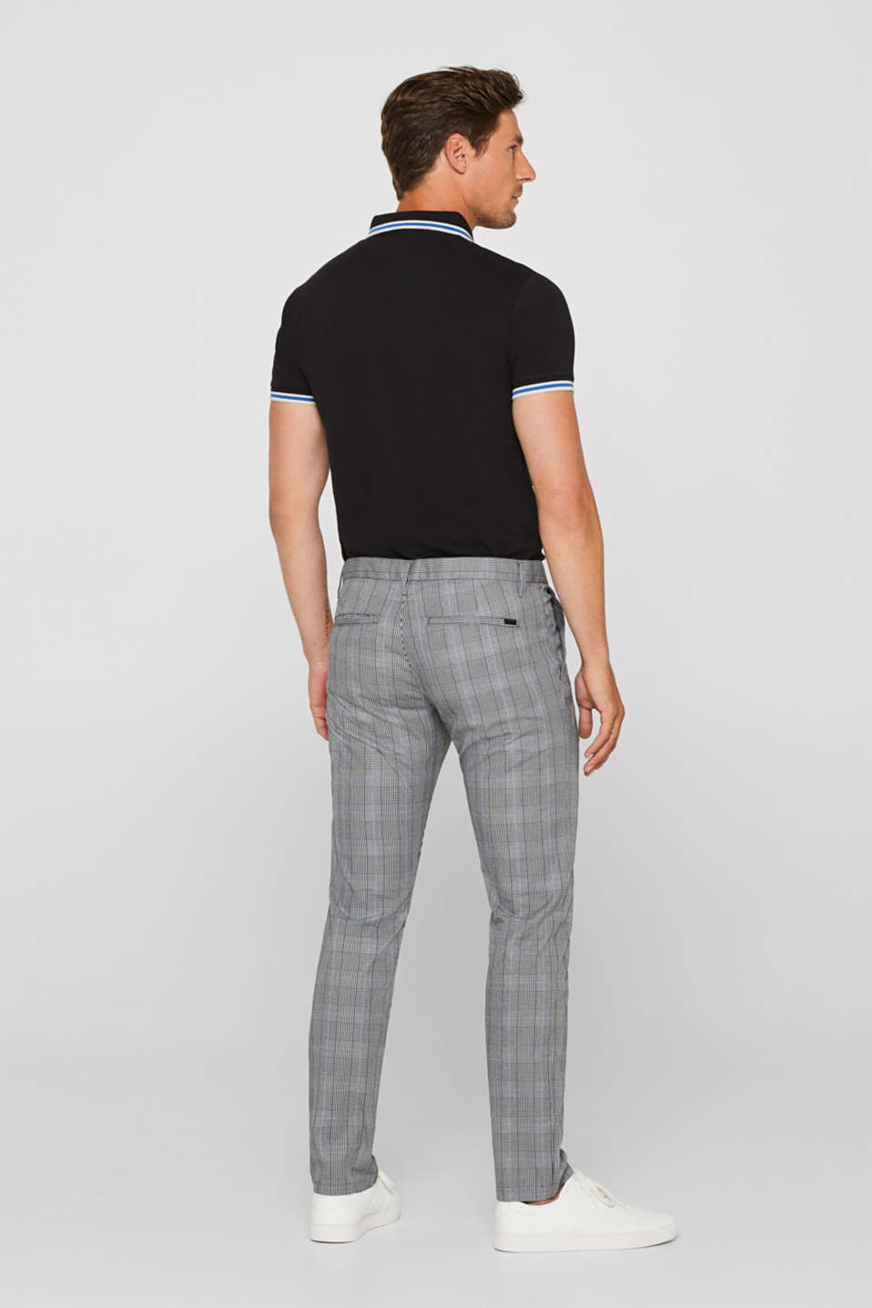 Trousers with a check pattern, made of stretch cotton, ANTHRACITE, detail image number 3
