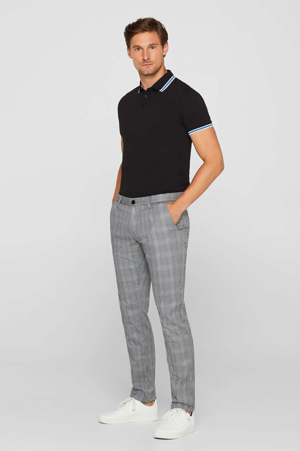 Trousers with a check pattern, made of stretch cotton, ANTHRACITE, detail image number 1