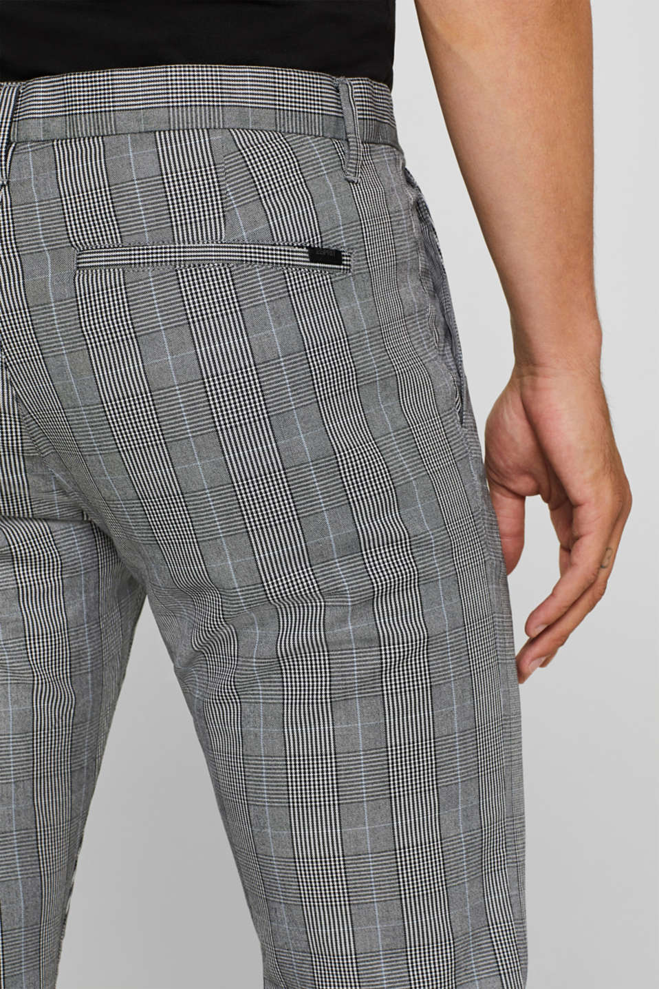 Trousers with a check pattern, made of stretch cotton, ANTHRACITE, detail image number 2