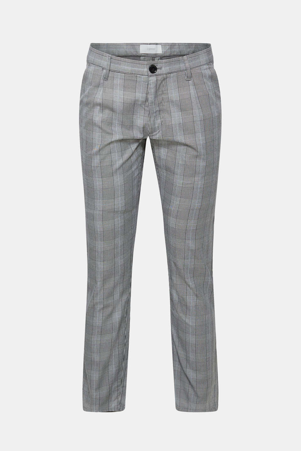 Trousers with a check pattern, made of stretch cotton, ANTHRACITE, detail image number 5