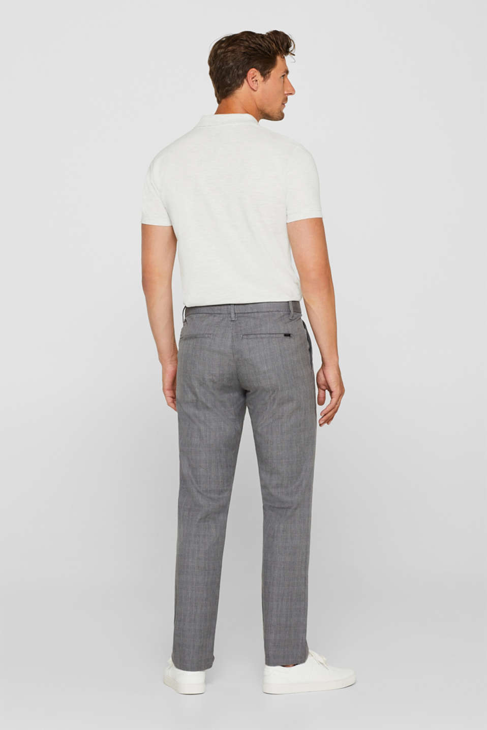 Trousers with a check pattern, made of stretch cotton, GREY, detail image number 3