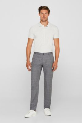 Trousers with a check pattern, made of stretch cotton, GREY, detail