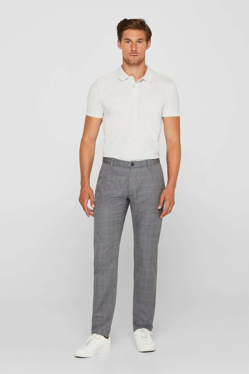 Trousers with a check pattern, made of stretch cotton, GREY, detail image number 1