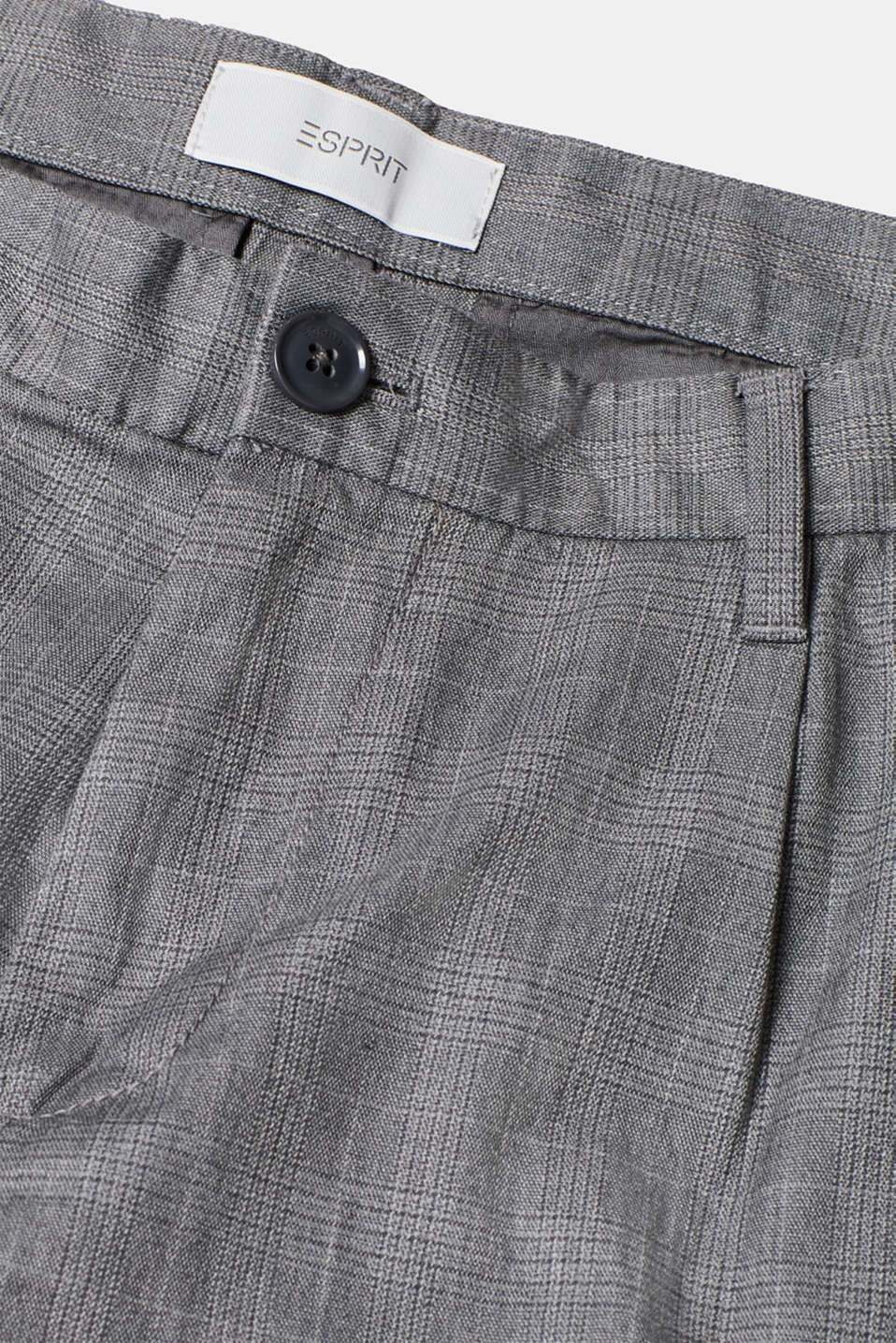 Trousers with a check pattern, made of stretch cotton, GREY, detail image number 4