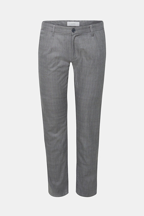 Trousers with a check pattern, made of stretch cotton