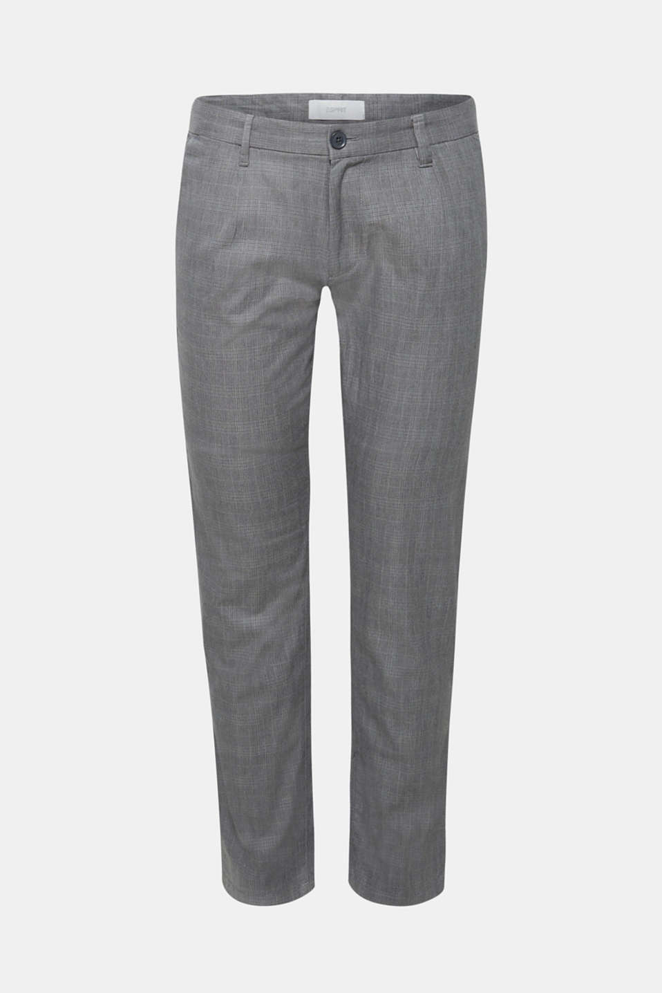 Trousers with a check pattern, made of stretch cotton, GREY, detail image number 5