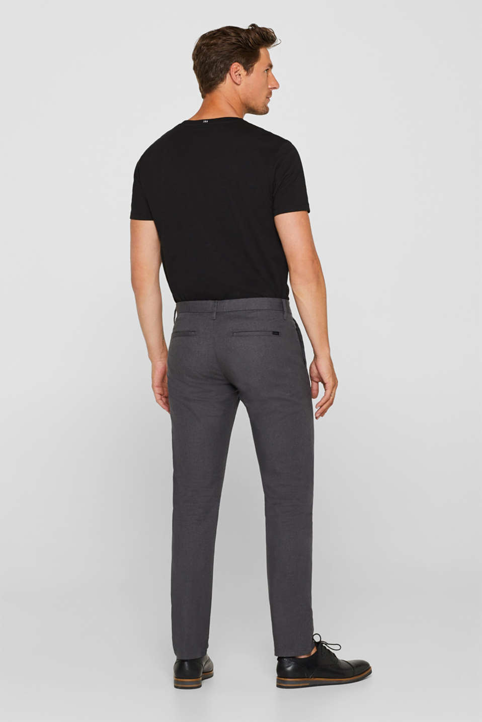 Stretch cotton chinos, ANTHRACITE, detail image number 3