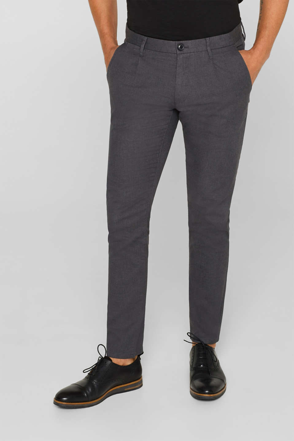 Pants woven Slim fit, ANTHRACITE, detail image number 4
