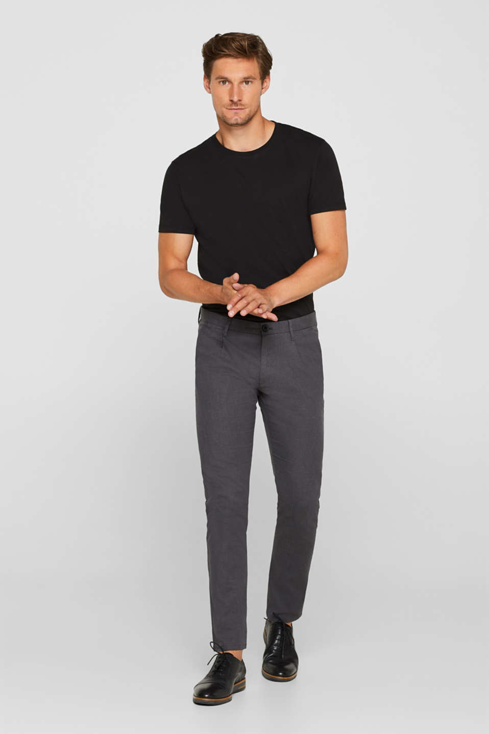 Pants woven Slim fit, ANTHRACITE, detail image number 1