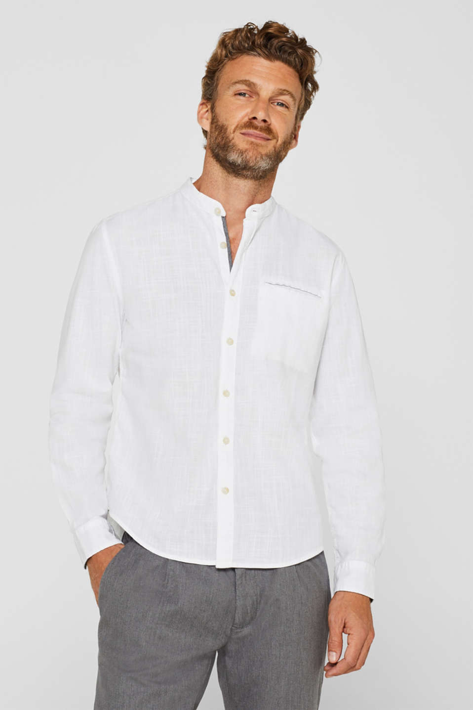 Esprit - Shirt with a woven texture, 100% cotton