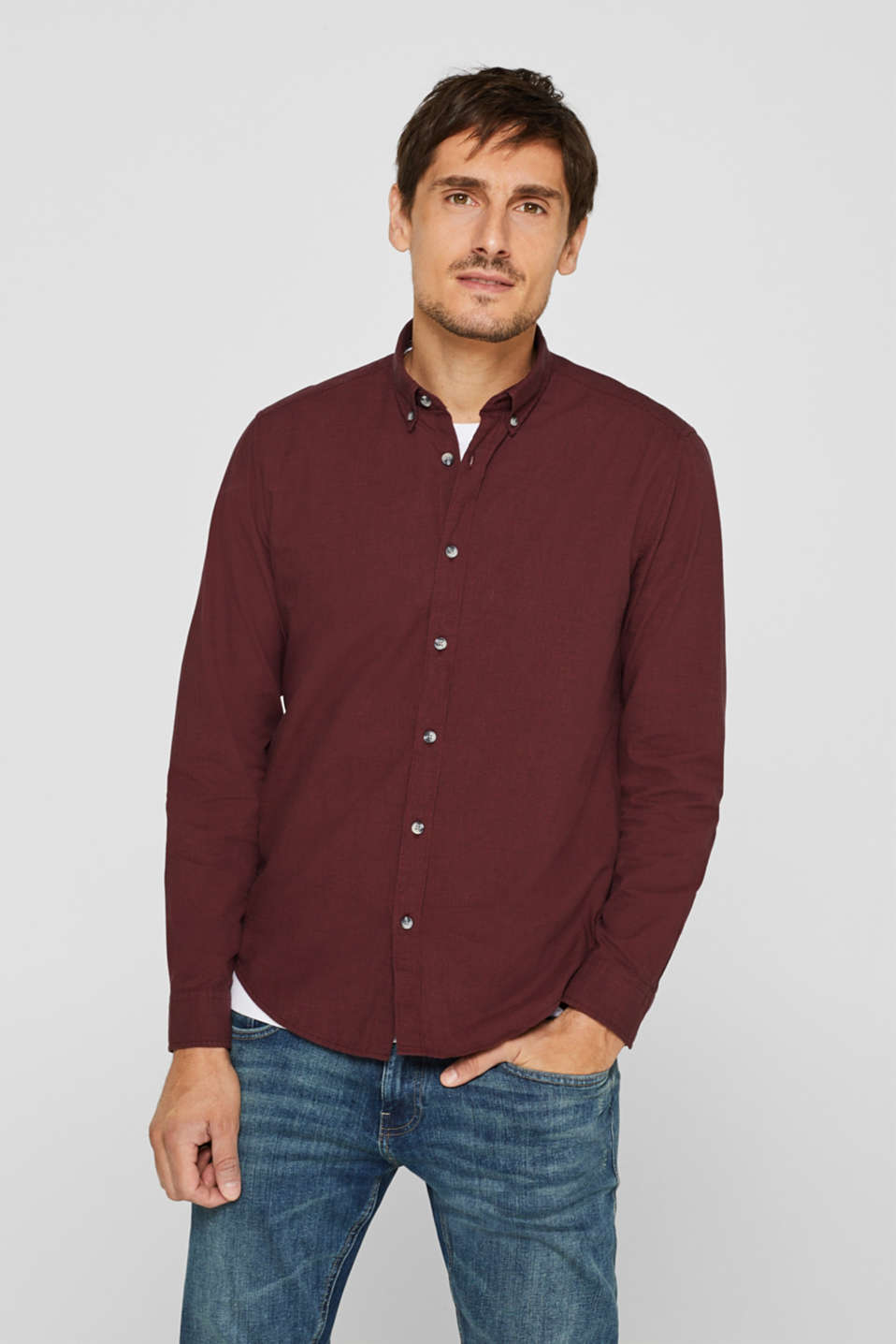 Esprit - Shirt with a mini gingham check pattern, 100% cotton