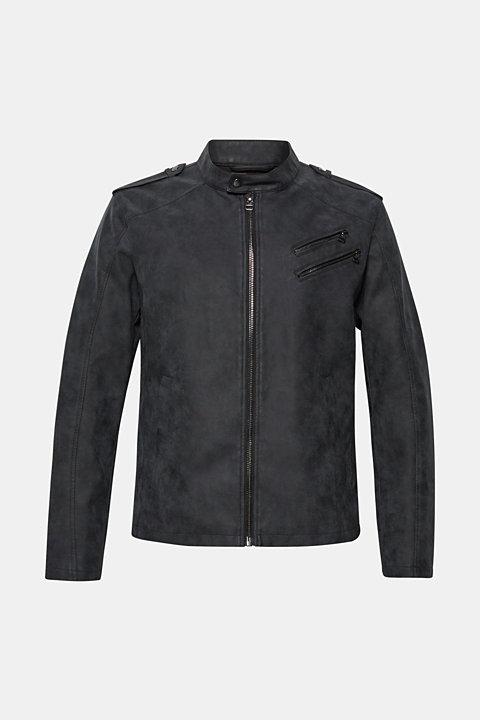 Faux nubuck biker jacket