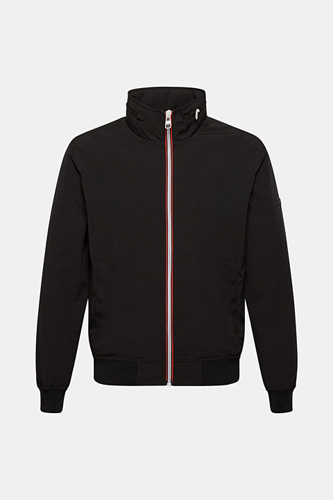 Bomber jacket with an adjustable hood