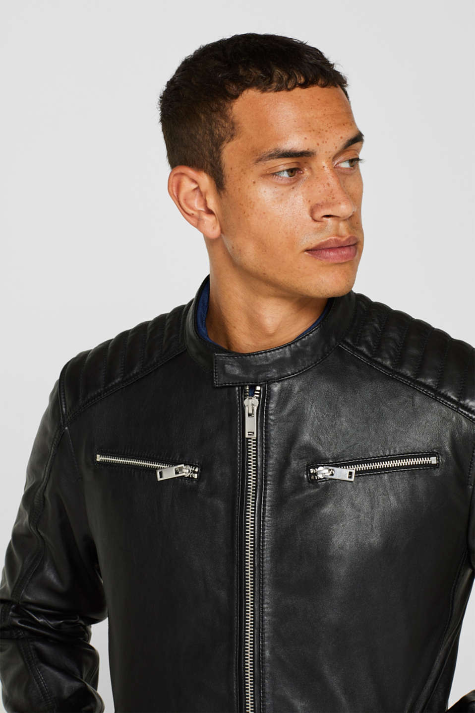 Jackets outdoor leather, BLACK, detail image number 5