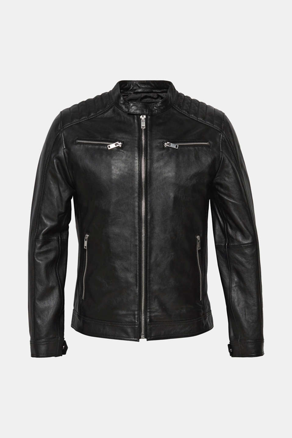 Jackets outdoor leather, BLACK, detail image number 6