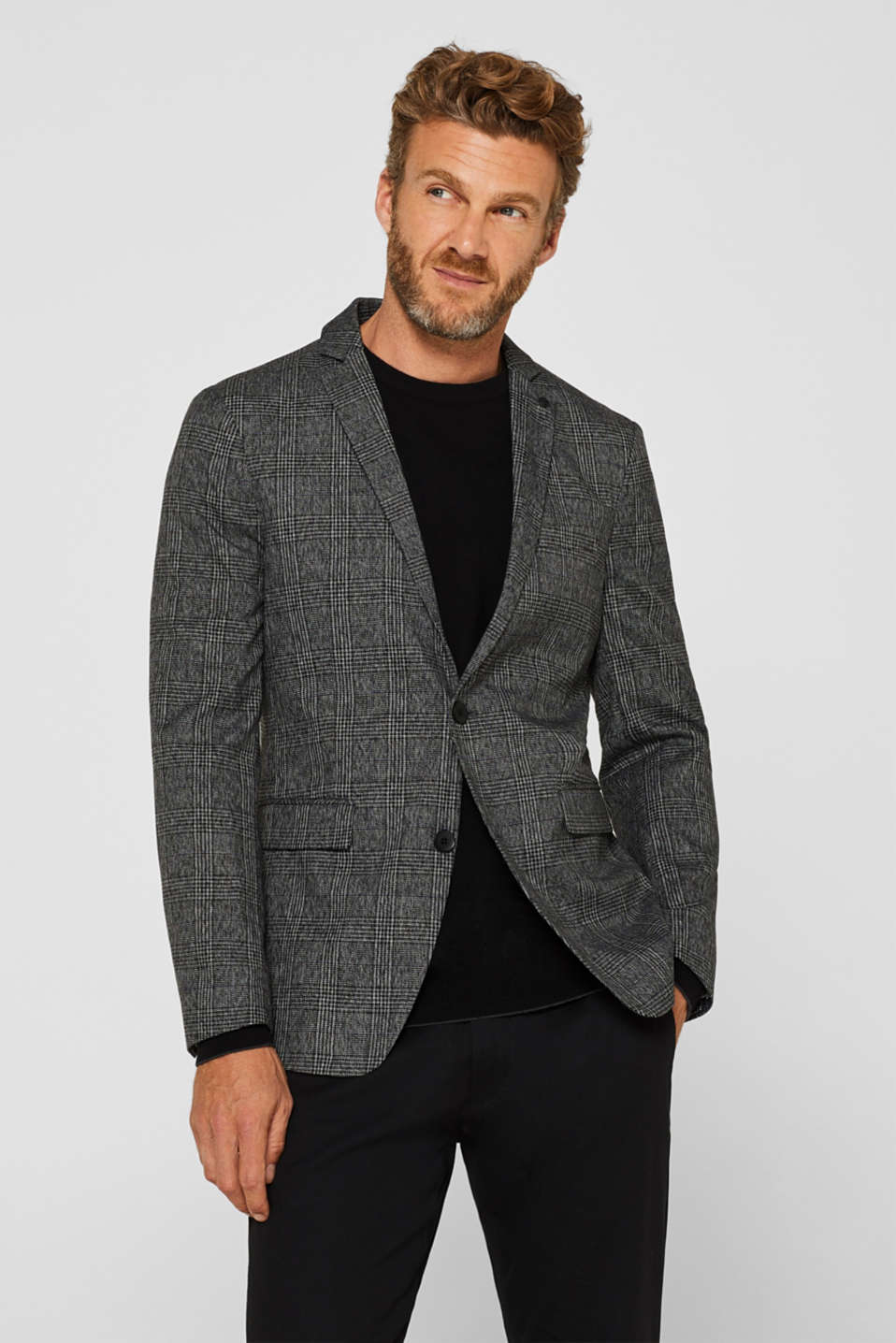 Esprit - Sports jacket with a Prince of Wales check pattern