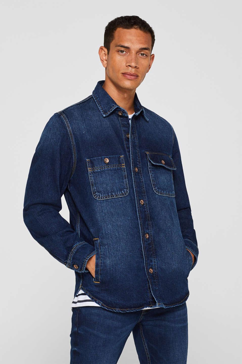 Denim jacket in 100% cotton, BLUE DARK WASH, detail image number 4